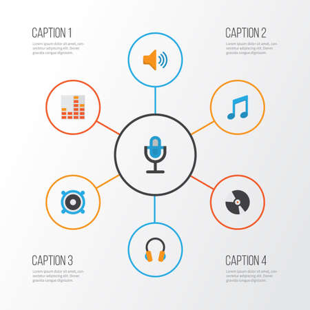 earpiece: Music Flat Icons Set. Collection Of Karaoke, Tone, Loudspeaker And Other Elements