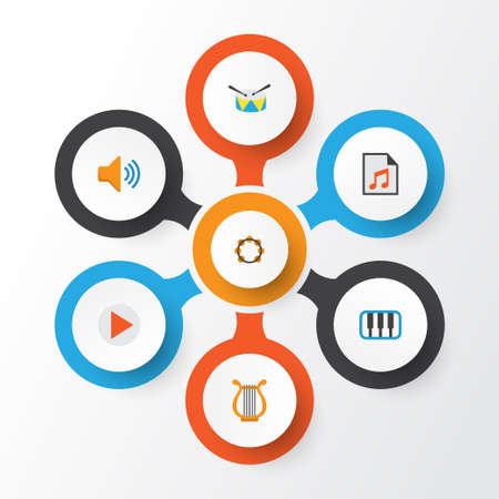 Audio Flat Icons Set. Collection Of Audio, Button, Pianoforte And Other Elements Illustration