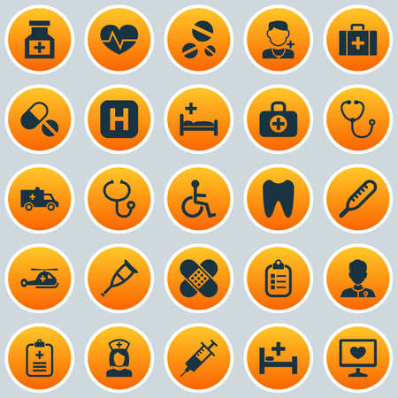 polyclinic: Medicine Icons Set. Collection Of Polyclinic, Drug, Spike And Other Elements