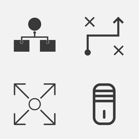 Machine Icons Set. Collection Of Branching Program, Solution, Analysis Diagram And Other Elements Illustration