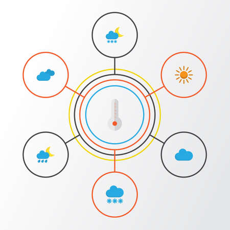 Air Flat Icons Set. Collection Of Temperature, Overcast, Hailstones And Other Elements Illustration