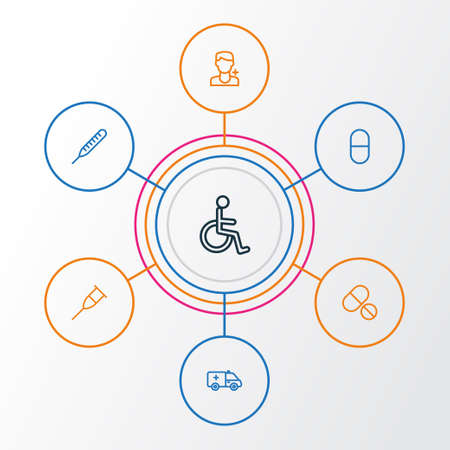 Medicine Outline Icons Set. Collection Of Disabled Person, Vitamin, Tablets And Other Elements. Also Includes Symbols Such As Ambulance, Man, Crutch.
