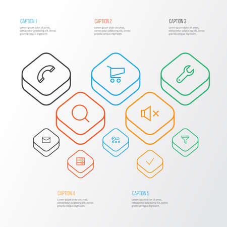 Interface Outline Icons Set: Collection Of Filter, Cart, Privacy And Other Elements. Illustration