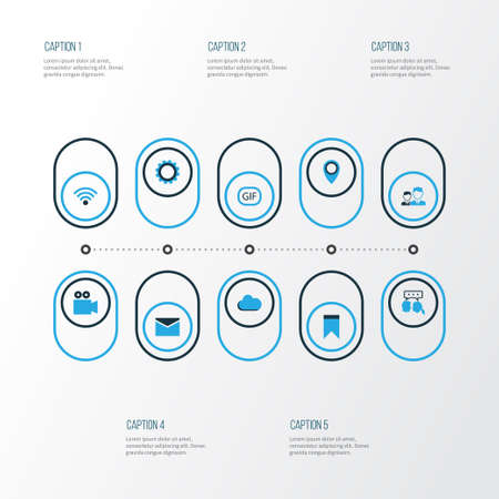 machinery: Internet Colorful Icons Set. Collection Of Animation, Wifi, Location And Other Elements Illustration