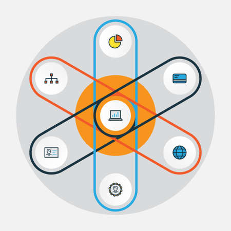 career entry: Business Colorful Outline Icons Set. Collection Of Network, Id Badge, Administrator And Other Elements. Also Includes Symbols Such As Document, Bank, Statistics.