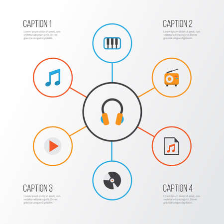 Music Flat Icons Set. Collection Of Media, Ear Muffs, Pianoforte And Other Elements
