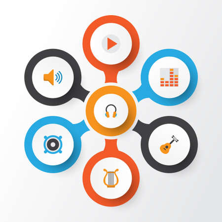 Multimedia Flat Icons Set. Collection Of Sonata, Audio, Loudspeaker And Other Elements. Also Includes Symbols Such As Button, Bullhorn, Headphone.