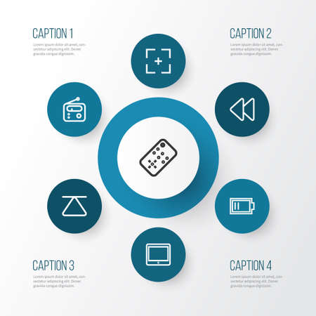 palmtop: Multimedia Outline Icons Set. Collection Of Palmtop, Target, Controller And Other Elements Illustration