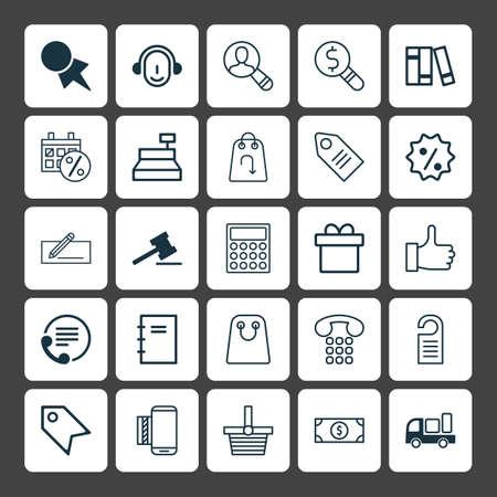 コマースのアイコンを設定します。リベート記号まで、モバイル サービスおよびその他の要素のコレクション  イラスト・ベクター素材