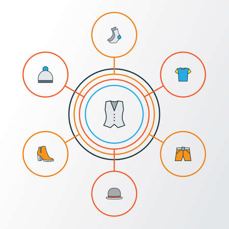 Clothes Colorful Outline Icons Set. Collection Of Female Boots, Beanie, T-Shirt And Other Elements. Also Includes Symbols Such As Hat, Briefs, Fedora.