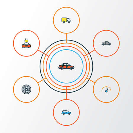 Car Colorful Outline Icons Set. Collection Of Drive, Auto, Electric And Other Elements. Also Includes Symbols Such As Pickup, Drive, Auto. Stock Photo