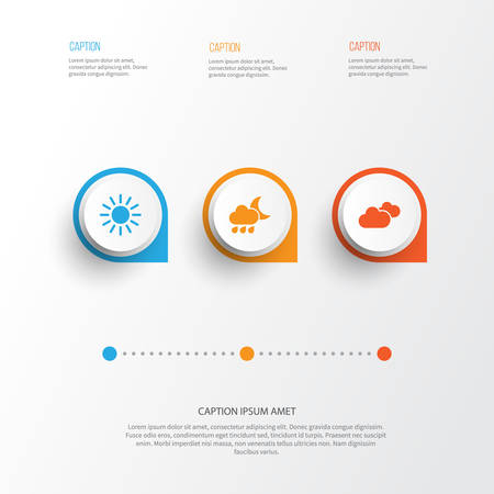 Climate Icons Set. Collection Of Weather, Nightly, Sun And Other Elements