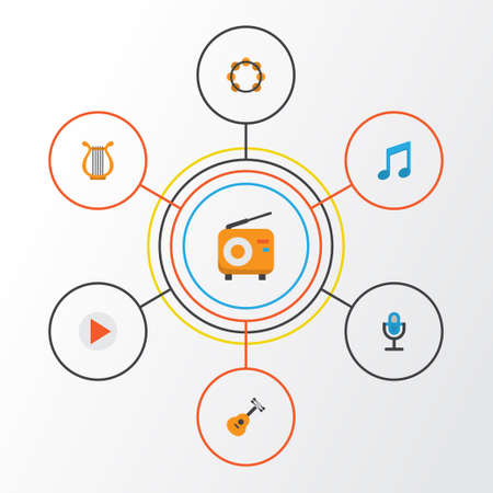 Audio Flat Icons Set. Collection Of Button, Tone, Karaoke And Other Elements