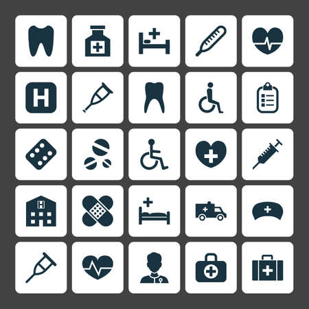 healer: Drug Icons Set. Collection Of Polyclinic, Tent, Remedy And Other Elements Stock Photo