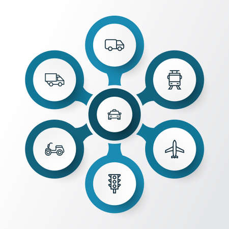 planos electricos: Transportation Outline Icons Set. Collection Of Traffic Light, Aircraft, Camion And Other Elements
