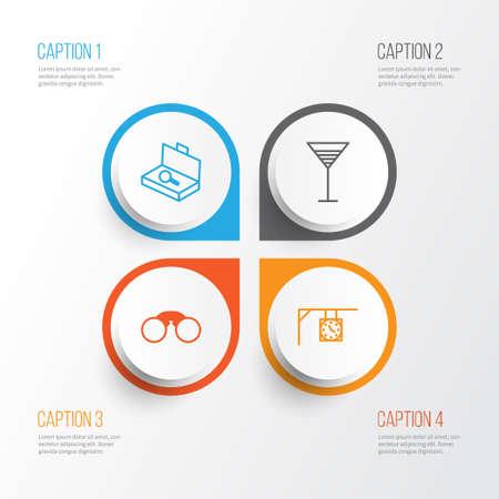 観光のアイコンを設定します。スーツケースのチェック、食前酒、飾り時計および他の要素のコレクションです。また食前酒、ストリート、双眼鏡  イラスト・ベクター素材