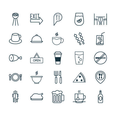 Restaurant Icons Set. Collection Of Beverage, Tea, Stop Smoke And Other Elements