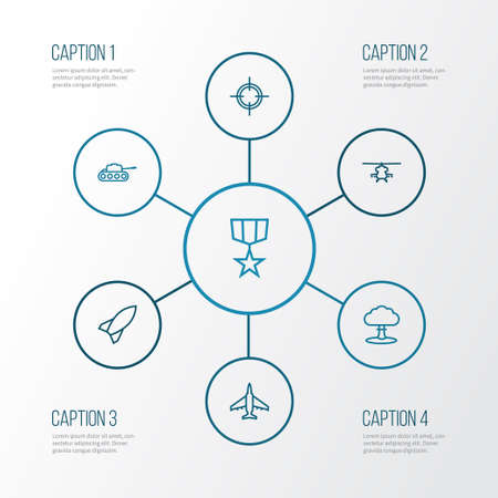 Battle Outline Icons Set. Collection Of Military, Aircraft, Target And Other Elements. Also Includes Symbols Such As Cooper, Nuclear, Fighter.