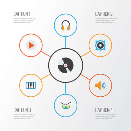 Music Flat Icons Set. Collection Of Dj, Button, Ear Muffs And Other Elements. Also Includes Symbols Such As Loudspeaker, Dj, Synthesizer.