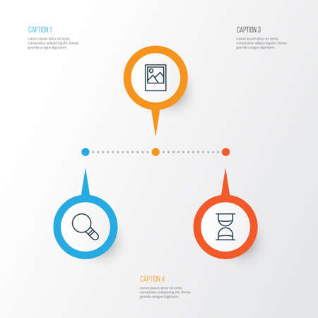 wap: Internet Icons Set. Collection Of Hourglass, Image, Research And Other Elements Illustration