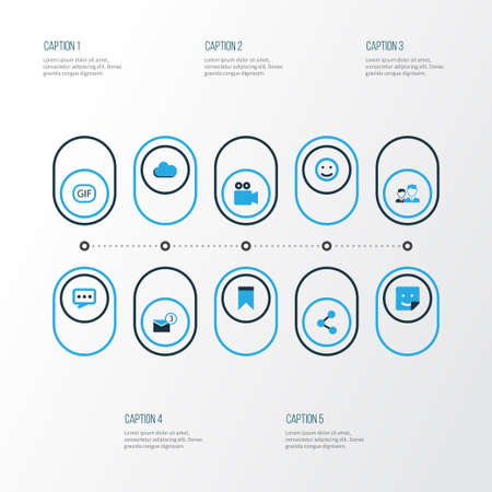 Internet Colorful Icons Set. Collection Of Friends, Cloud, Sticker And Other Elements Ilustrace
