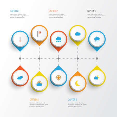 Weather Flat Icons Set. Collection Of Cloud, Moon, Banner And Other Elements