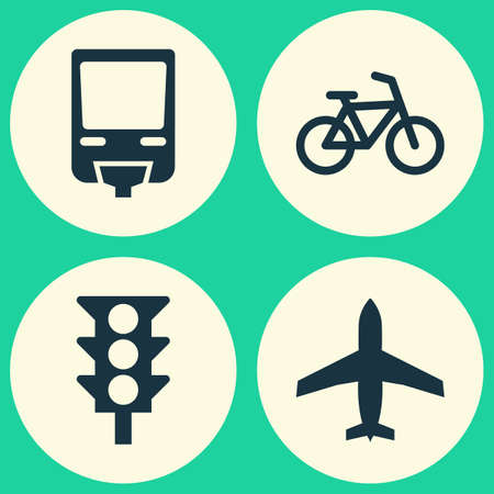 monorail: Transport Icons Set. Collection Of Aircraft, Railroad, Stoplight And Other Elements. Also Includes Symbols Such As Bicycle, Monorail, Bike. Illustration