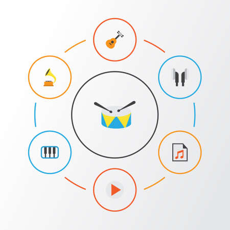 Music Flat Icons Set. Collection Of Acoustic, Button, Earpiece And Other Elements. Also Includes Symbols Such As Phonograph, Musical, Percussion. Illustration