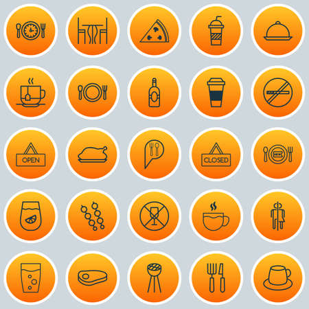 Icons Set. Collection Of Mocha, Stick Barbecue, Grill And Other Elements. Also Includes Symbols Such As Wc, Time, Restaurant.