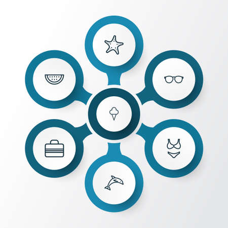 Season Outline Icons Set. Collection Of Handbag, Animal , Glasses Elements. Also Includes Symbols Such As Starfish, Glasses, Suitcase. Illustration