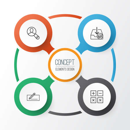 Commerce icons set: collection of withdraw money, calculation tool, money transfer, and other elements. Ilustração