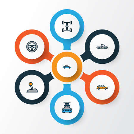 Automobile colorful outline icons set: collection of rudder, auto, level, and other elements.