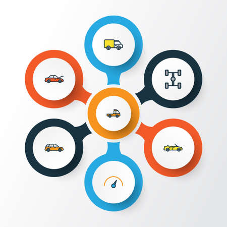 Car Colorful Outline Icons Set. Collection Of Machine, Speed, Carcass And Other Elements. Also Includes Symbols Such As Track, Cabriolet, Prime. Illustration