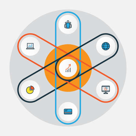 economic cycle: Business Colorful Outline Icons Set. Collection Of Computer Analytics, Financial Profit, Pie Chart And Other Elements. Also Includes Symbols Such As Statistics, Cash, Planet. Illustration