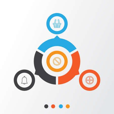 네트워크 아이콘을 설정합니다. 쇼핑, 벨, 긍정적 인 및 기타 요소의 컬렉션입니다. 또한 Bell, Obstacle, Positive와 같은 기호도 포함합니다.