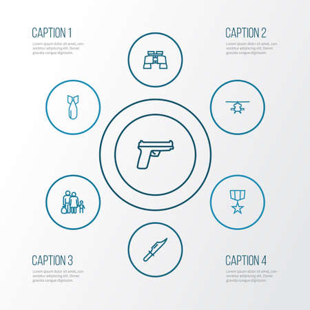 Army Outline Icons Set. Collection Of Weapon, Cutter, Dynamite And Other Elements. Also Includes Symbols Such As Rocket, Zoom, Cutter.
