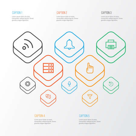 User Outline Icons Set. Collection Of History, Server, Print And Other Elements