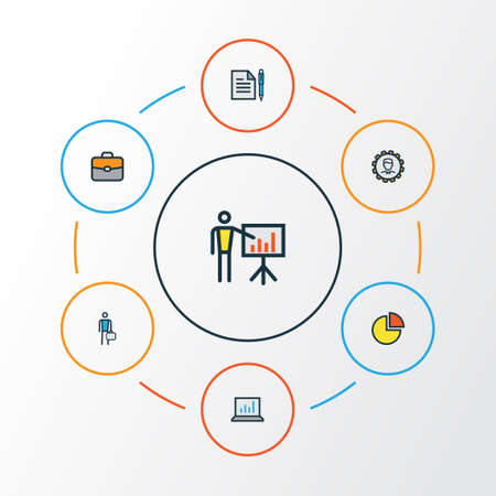 Trade Colorful Outline Icons Set. Collection Of Agreement, Computer Analytics, Administrator And Other Elements