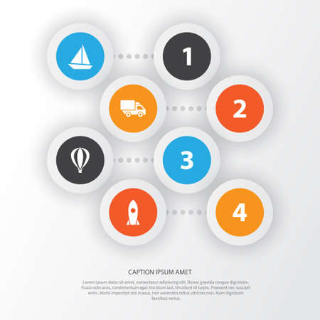 Transportation Icons Set. Collection Of Yacht, Spaceship, Airship And Other Elements. Also Includes Symbols Such As Air, Flight, Sail.