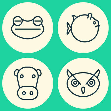 Nature Icons Set. Collection Of Butterflyfish, Toad, Night Fowl And Other Elements. Also Includes Symbols Such As Fish, Amphibian, Toad. Illustration