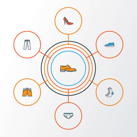 Clothes Colorful Outline Icons Set. Collection Of Heels, Sneakers, Shorts And Other Elements. Also Includes Symbols Such As Boots, Underpants, Footwear.