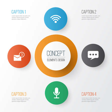 Social Icons Set. Collection Of Wireless Connection, Inbox, Video Chat And Other Elements. Also Includes Symbols Such As Connection, Notification, Microphone.