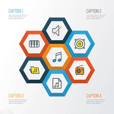 mp3: Music Colorful Outline Icons Set. Collection Of Template, Sound, Mute And Other Elements. Also Includes Symbols Such As List, Package, Loudspeakers.