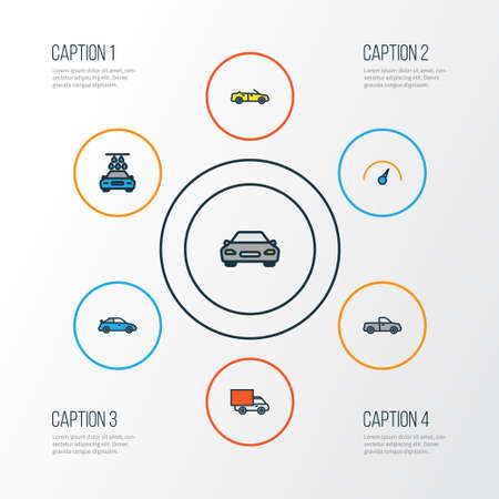 moving truck: Car Colorful Outline Icons Set. Collection Of Auto, Speed, Sport And Other Elements. Also Includes Symbols Such As Washing, Speedometer, Sedan.
