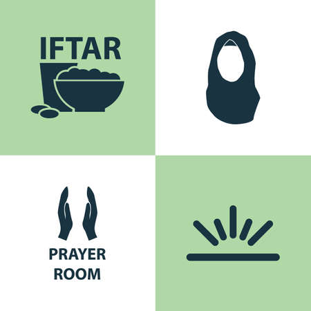 Holiday Icons Set. Collection Of Meal, Kerchief, Pray And Other Elements. Also Includes Symbols Such As Iftar, Eat, Namaz.