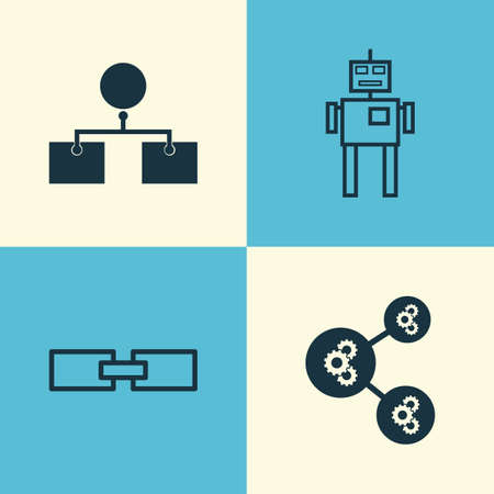 associative: Robotics Icons Set. Collection Of Related Information, Cyborg, Analysis Diagram And Other Elements. Also Includes Symbols Such As Machine, Shared, Analysis. Illustration