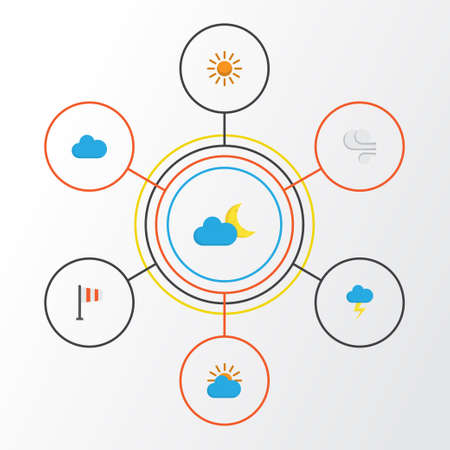 Climate Flat Icons Set. Collection Of Storm, Banner, Cloud And Other Elements. Also Includes Symbols Such As Blizzard, Lightning, Crescent.
