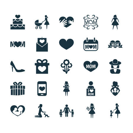 Mothers Day Icon Design Concept. Set Of 25 Such Elements As Gift, Design And Female. Beautiful Symbols For Flower, Infant And Mother.