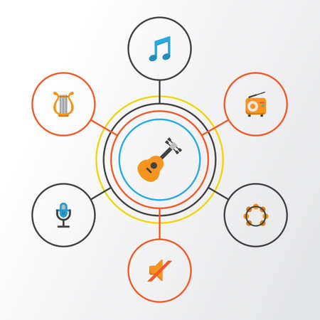 Multimedia Flat Icons Set. Collection Of Sonata, Tone, Karaoke And Other Elements. Also Includes Symbols Such As Broadcasting, Instrument, Mic.