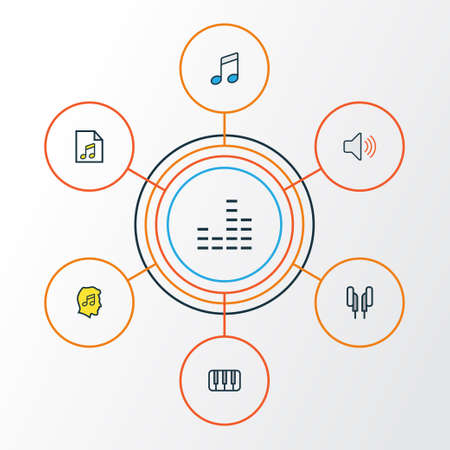 Music Colorful Outline Icons Set. Collection Of List, Sound, Headphones And Other Elements. Also Includes Symbols Such As Volume, Keys, Soundtrack.